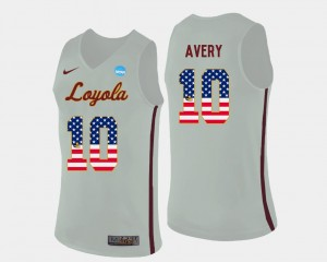 Adarius Avery College Jersey #10 Basketball White US Flag Fashion Loyola Ramblers For Men's