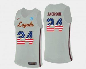 For Men's #24 Ramblers Basketball White Aundre Jackson College Jersey US Flag Fashion