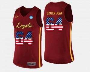 Loyola US Flag Fashion Maroon #64 Basketball Men's Sister Jean College Jersey