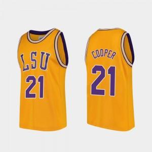 Basketball Replica Gold LSU Courtese Cooper College Jersey For Men's #21