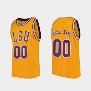 LSU #00 Basketball Gold College Custom Jersey For Men Replica
