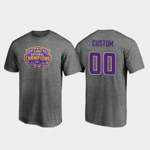 #00 LSU For Men's 2019 National Champions Heather Gray Football Playoff Visor College Custom T-Shirts
