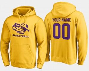 #00 College Customized Hoodies Basketball - Mens Gold LSU