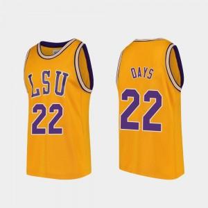Men's Gold LSU Darius Days College Jersey Basketball Replica #22