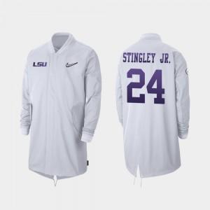 2019 Football Playoff Bound Full-Zip Sideline Tigers Derek Stingley Jr. College Jacket For Men's #24 White