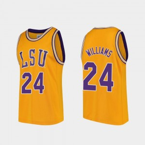 LSU Tigers Emmitt Williams College Jersey Replica Basketball Mens Gold #24