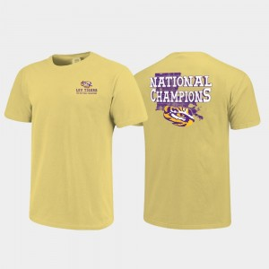 For Men College T-Shirt Gold 2019 National Champions Louisiana State Tigers Field of State Comfort Color