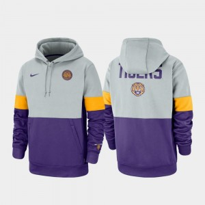 Therma Performance Pullover Gray Purple Rivalry College Hoodie Louisiana State Tigers For Men's