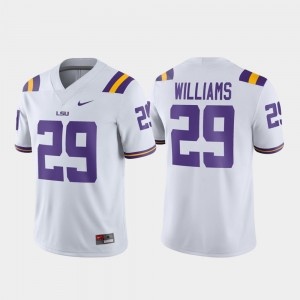 Greedy Williams College Jersey White For Men Football LSU #29 Game