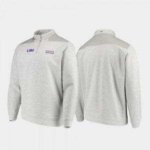 LSU Heathered Gray For Men's Shep Shirt Quarter-Zip College Jacket