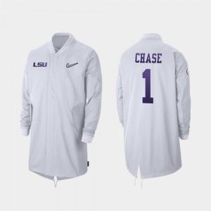 White 2019 Football Playoff Bound #1 Ja'Marr Chase College Jacket Men Full-Zip Sideline Tigers