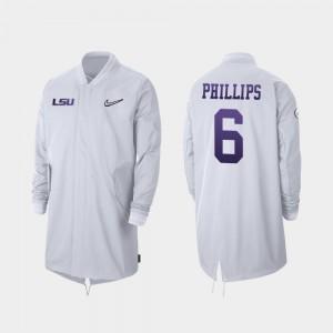 LSU #6 Full-Zip Sideline Jacob Phillips College Jacket 2019 Football Playoff Bound Men's White