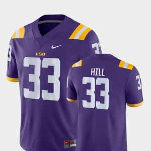 Tigers Men's #33 Jeremy Hill College Jersey Football Game Purple