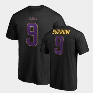 Name & Number LSU Tigers #9 Joe Burrow College T-Shirt Mens Legends Black