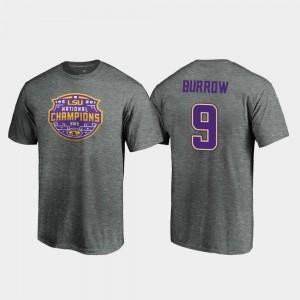 Heather Gray Joe Burrow College T-Shirt Men's LSU Football Playoff Visor #9 2019 National Champions