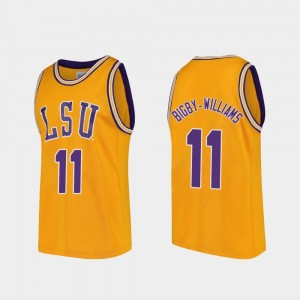Gold Men Tigers Kavell Bigby-Williams College Jersey Basketball Replica #11
