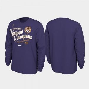 Purple 2019 National Champions LSU Celebration Long Sleeve Football Playoff Men College T-Shirt