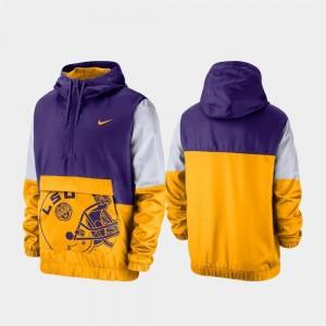 LSU For Men's Colorblock Anorak College Jacket Purple Quarter-Zip