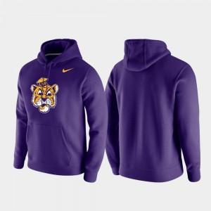 Mens LSU Tigers Purple Club Fleece Vintage Logo College Hoodie