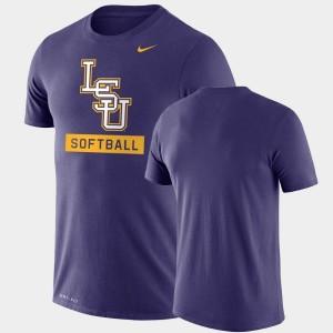 Mens Drop Legend Tigers College T-Shirt Performance Softball Purple