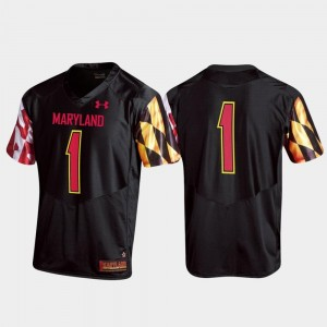 For Men's Football Maryland #1 Replica College Jersey Black
