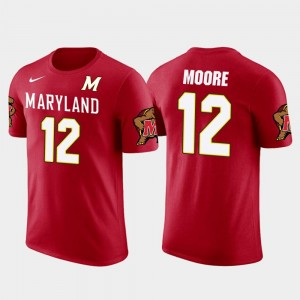 Red Future Stars Carolina Panthers Football #12 Terrapins D.J. Moore College T-Shirt For Men's