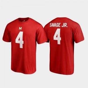 Darnell Savage Jr. College T-Shirt Red Name & Number For Men #4 Maryland Terrapins Legends