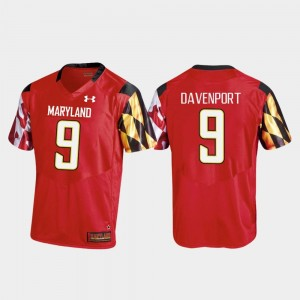 #9 Replica Red Football Jahrvis Davenport College Jersey Maryland For Men's