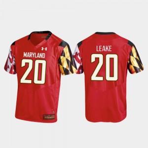 #20 Maryland Terrapins Mens Football Javon Leake College Jersey Red Replica