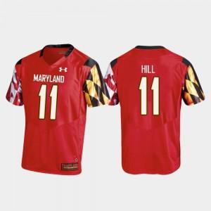 Red Replica Maryland Terrapins Mens Kasim Hill College Jersey #11 Football