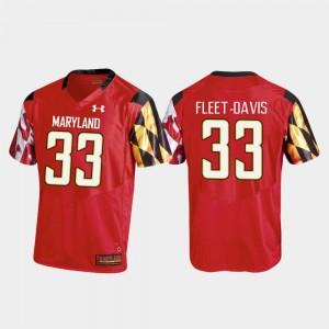 Terrapins Men Replica Tayon Fleet-Davis College Jersey Football #33 Red
