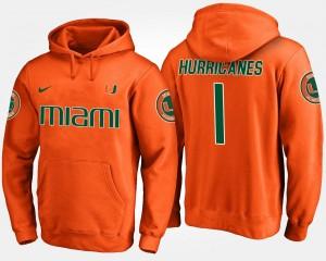 Men's College Hoodie No.1 Orange #1 Hurricanes