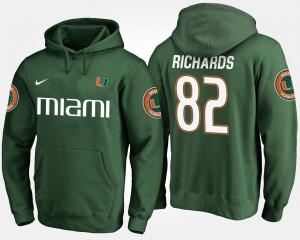 Ahmmon Richards College Hoodie #82 For Men's Miami Hurricanes Green