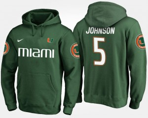 Miami Men's Andre Johnson College Hoodie #5 Green