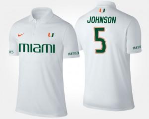 University of Miami White Andre Johnson College Polo #5 For Men's