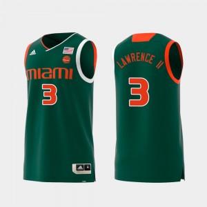 Anthony Lawrence II College Jersey Men's Replica #3 Swingman Basketball University of Miami Green