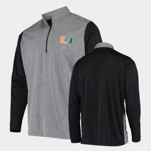 College Jacket Men Charcoal Miami Hurricane UPF Quarter-Zip