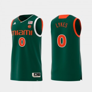 Chris Lykes College Jersey Replica For Men's Swingman Basketball #0 University of Miami Green