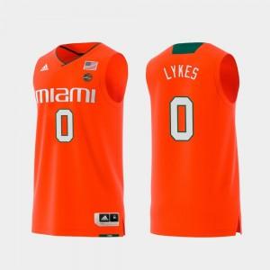 Miami Chris Lykes College Jersey Mens Replica #0 Swingman Basketball Orange