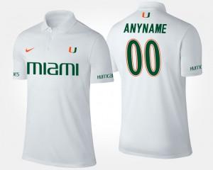 College Custom Polo Men's White #00 Miami