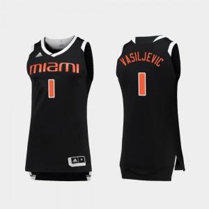 For Men's Chase #1 Miami Hurricane Dejan Vasiljevic College Jersey Basketball Black White