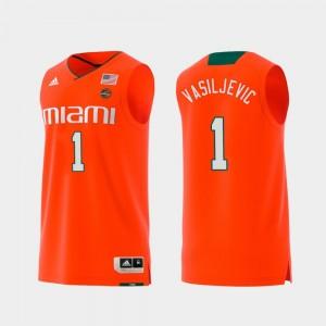 Orange Miami Hurricane Dejan Vasiljevic College Jersey For Men Replica Swingman Basketball #1