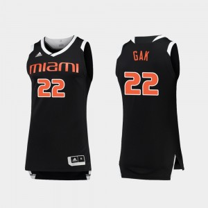 #22 Black White Basketball University of Miami Men's Deng Gak College Jersey Chase