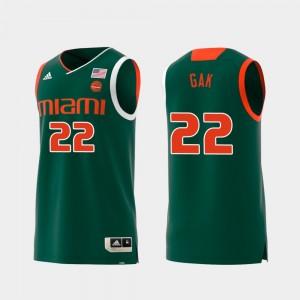 Swingman Basketball Green #22 Men's Replica Miami Deng Gak College Jersey
