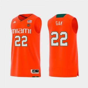 Deng Gak College Jersey Swingman Basketball Men Orange Replica #22 Hurricanes