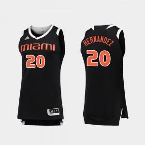 #20 Black White Basketball Dewan Hernandez College Jersey Chase Mens Miami Hurricane