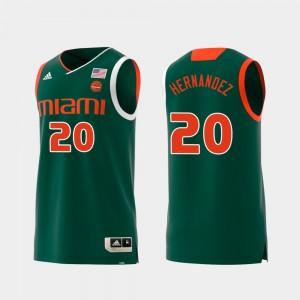 Green Hurricanes For Men Swingman Basketball #20 Dewan Hernandez College Jersey Replica