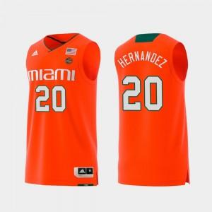 UM For Men #20 Dewan Hernandez College Jersey Swingman Basketball Replica Orange