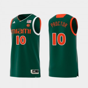 Men's #10 Swingman Basketball Replica University of Miami Green Dominic Proctor College Jersey