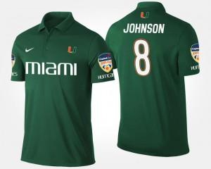 For Men's Green #8 Miami Hurricane Bowl Game Duke Johnson College Polo Orange Bowl
